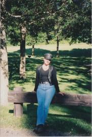 Debbie taking a break on one of our trike trips to LaCrosse, WI